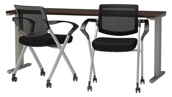 "Training Tables Bush Furniture 72""W x 24""D Training Table with Mesh Back Folding Chairs (Set of 2)"