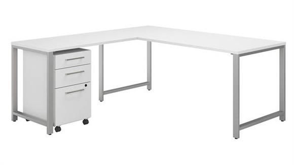"""L Shaped Desks Bush Furniture 72""""W x 78""""D  L-Shaped Desk, Return and 3 Drawer Mobile File Cabinet"""