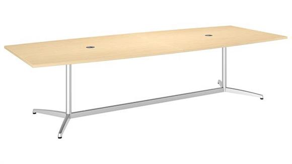 """Conference Tables Bush Furniture 120""""W x 48""""D Boat Shaped Conference Table with Metal Base"""