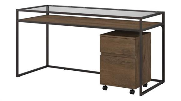 "Writing Desks Bush Furniture 60""W Glass Top Writing Desk with 2 Drawer Mobile File Cabinet"