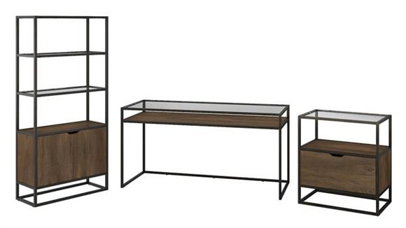 """Writing Desks Bush Furniture 60""""W Glass Top Writing Desk with Bookcase and Lateral File Cabinet"""