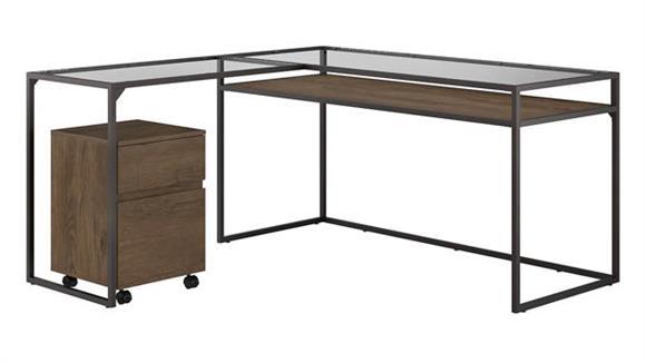 """L Shaped Desks Bush Furniture 60""""W Glass Top L Shaped Desk with 2 Drawer Mobile File Cabinet"""