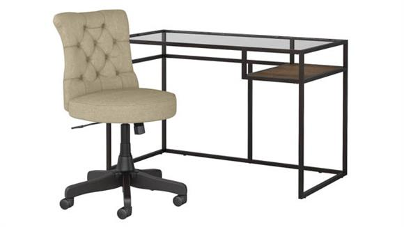"Writing Desks Bush Furniture 48""W Glass Top Writing Desk with Mid Back Tufted Office Chair"