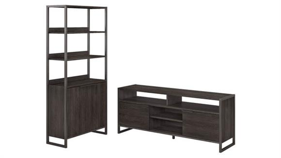 TV Stands Bush Furniture TV Stand and 5 Shelf Bookcase with Doors