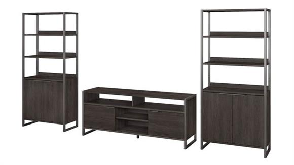 TV Stands Bush Furniture TV Stand and (2) 5 Shelf Bookcases with Doors