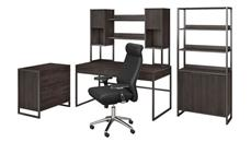 """Computer Desks Bush Furniture 60""""W Desk with Hutch, File Cabinet, Bookcase and High Back Office Chair"""