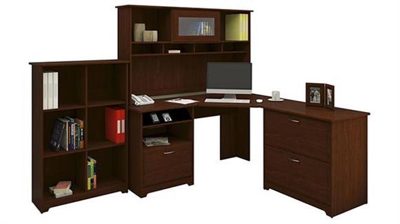 Corner Desks Bush Furniture Corner Desk and Hutch with Lateral File and Bookcase