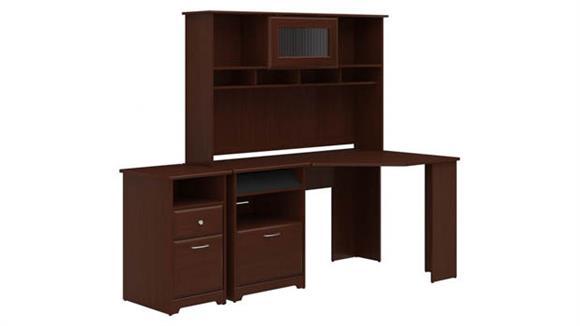 Corner Desks Bush Furniture Corner Desk with Hutch and 2 Drawer File Cabinet