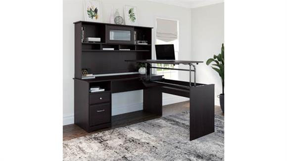 """Adjustable Height Desks & Tables Bush Furniture 60""""W 3 Position L Shaped Sit to Stand Desk with Hutch"""