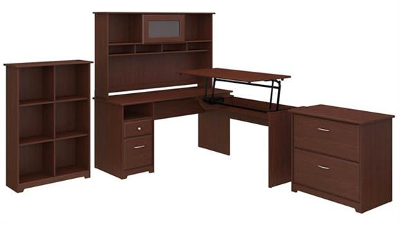 "Adjustable Height Desks & Tables Bush Furniture 60""W 3 Position L Shaped Sit to Stand Desk with Hutch and Storage"