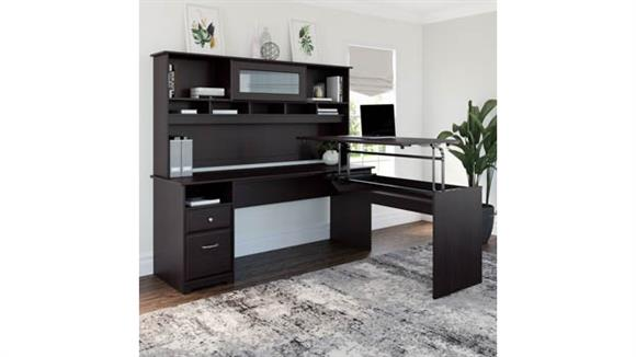 """Adjustable Height Desks & Tables Bush Furniture 72""""W 3 Position L Shaped Sit to Stand Desk with Hutch"""