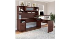 """Adjustable Height Desks & Tables Bush Furniture 72"""" W 3 Position L Shaped Sit to Stand Desk with Hutch"""