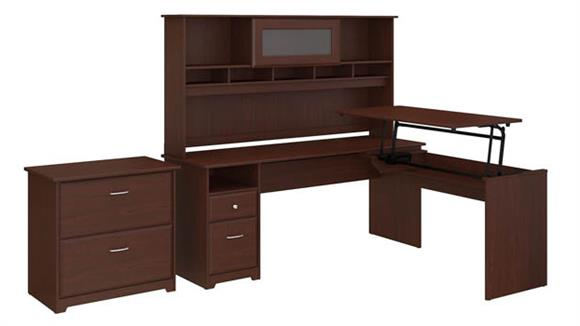 "Adjustable Height Desks & Tables Bush Furniture 72""W 3 Position L Shaped Sit to Stand Desk with Hutch and File Cabinet"