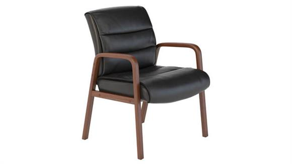 Side & Guest Chairs Bush Furniture Leather Guest Chair with Wood Arms
