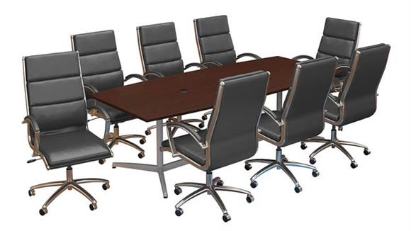 "Conference Table Sets Bush Furniture 96""W x 42""D Boat Shaped Conference Table with Metal Base and Set of 8 High Back Office Chairs"