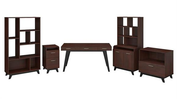 "Writing Desks Bush Furniture 60""W x 30""D Writing Desk with File Cabinets, Bookcase, Accent Storage Cabinet and Bookcase Hutch"