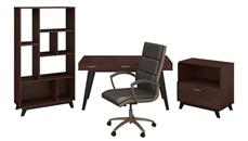 """Writing Desks Bush Furniture 60""""W x 30""""D Writing Desk with Lateral File Cabinet, Bookcase and High Back Leather Office Chair"""