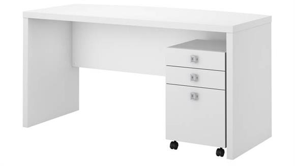 Office Credenzas Bush Furniture Bow Front Desk with Mobile File Cabinet