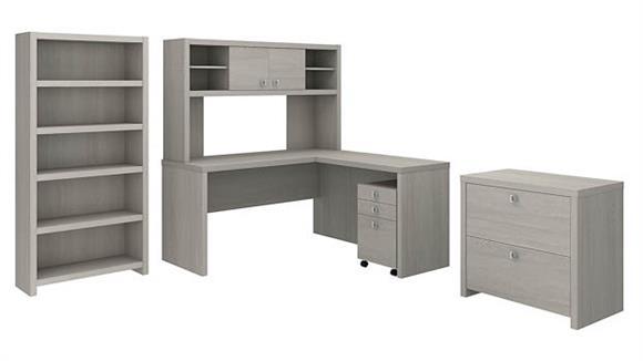 Executive Desks Bush Furniture L Shaped Desk with Hutch, Bookcase and File Cabinets