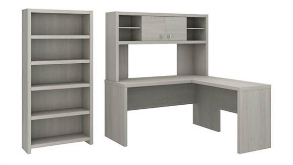 L Shaped Desks Bush Furniture L Shaped Desk with Hutch and 5 Shelf Bookcase