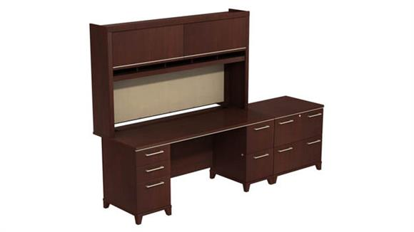 "Computer Desks Bush Furniture 72""W Double Pedestal Desk with Hutch and 2 Drawer Lateral File"