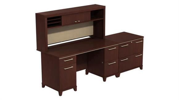 "Computer Desks Bush Furniture 60""W Double Pedestal Desk with Hutch and Lateral File"