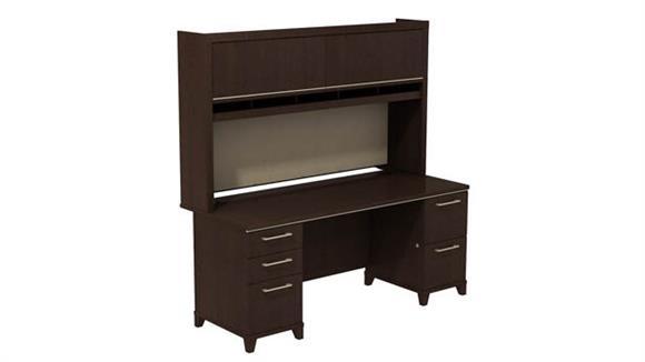 """Executive Desks Bush Furniture 72""""W x 30""""D Double Pedestal Desk with Hutch"""