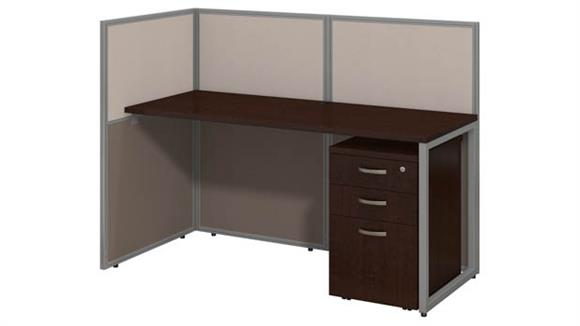 "Workstations & Cubicles Bush Furniture 60""W Straight Desk Open Office with 3 Drawer Mobile Pedestal and 45""H Panels"