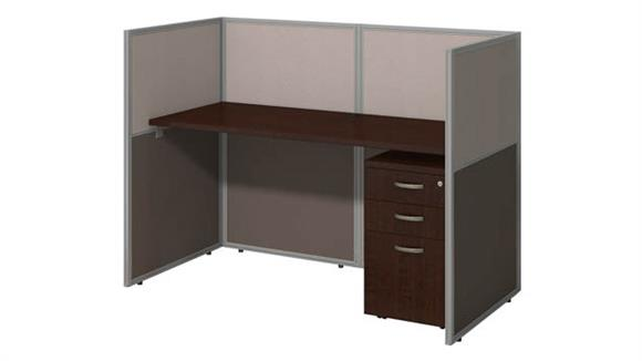 "Workstations & Cubicles Bush Furniture 60""W Straight Desk Closed Office with 45""H Panels and 3 Drawer Mobile Pedestal"