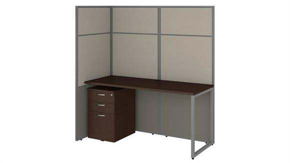 "Workstations & Cubicles Bush Furniture 60""W Cubicle Desk with File Cabinet and 66""H Open Panels Workstation"