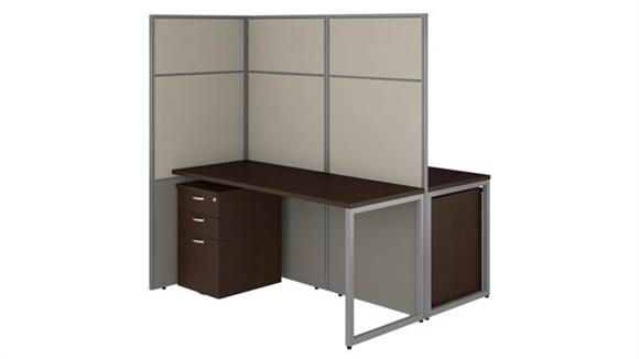 """Workstations & Cubicles Bush Furniture 60""""W 2 Person Cubicle Desk with File Cabinets and 66""""H Panels"""