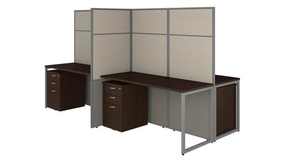 """Workstations & Cubicles Bush Furniture 60""""W 4 Person Cubicle Desk with File Cabinets and 66""""H Panels"""