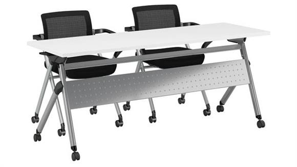 "Training Tables Bush Furniture 72""W x 24""D Folding Training Table with Set of 2 Folding Chairs"