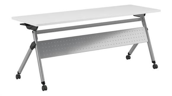 """Training Tables Bush Furniture 72""""W x 24""""D Folding Training Table with Wheels"""