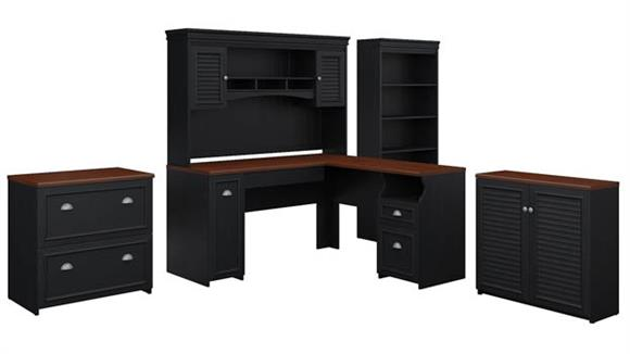 "L Shaped Desks Bush Furniture 60""W L Shaped Desk with Hutch, Storage Cabinets and 5 Shelf Bookcase"