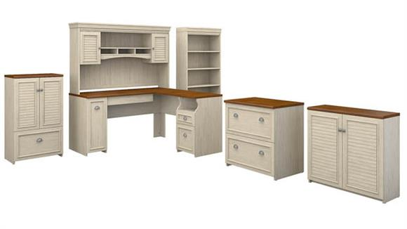 "L Shaped Desks Bush Furniture 60""W L Shaped Desk with Hutch, Bookcase, Storage and File Cabinets"