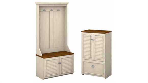 Hall Trees Bush Furniture Hall Tree with Storage Bench and Shoe Cabinet
