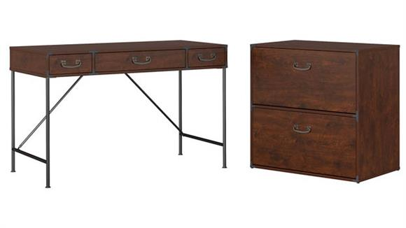 "Writing Desks Bush Furniture 48""W Writing Desk and Lateral File Cabinet"