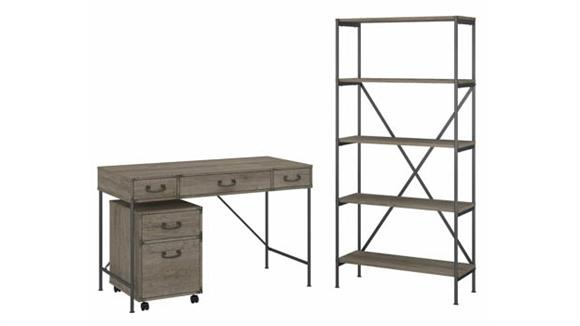 """Writing Desks Bush Furniture 48""""W Writing Desk with Mobile File Cabinet and 5 Shelf Bookcase"""