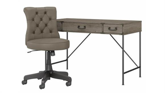 """Writing Desks Bush Furniture 48""""W Writing Desk with Mid Back Tufted Leather Office Chair"""