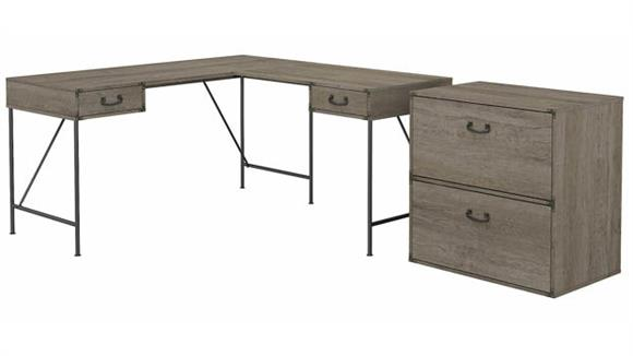 """L Shaped Desks Bush Furniture 60""""W L-Shaped Writing Desk with 2 Drawer Lateral File Cabinet"""