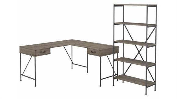 "L Shaped Desks Bush Furniture 60""W L-Shaped Writing Desk with 5 Shelf Etagere Bookcase"