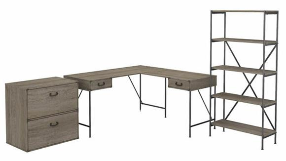 """L Shaped Desks Bush Furniture 60""""W L-Shaped Writing Desk with Lateral File Cabinet and 5 Shelf Bookcase"""