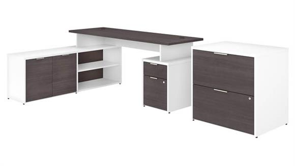 """L Shaped Desks Bush Furniture 72""""W L-Shaped Desk with Drawers and Lateral File Cabinet"""