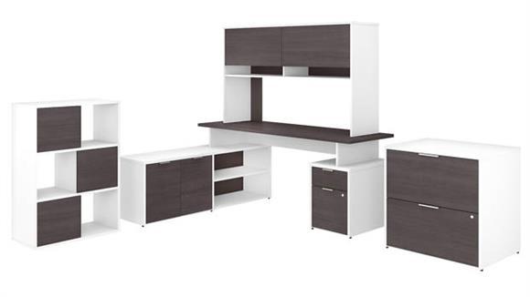 "L Shaped Desks Bush Furniture 72""W L-Shaped Desk with Hutch, Lateral File Cabinet and 6 Cube Organizer"