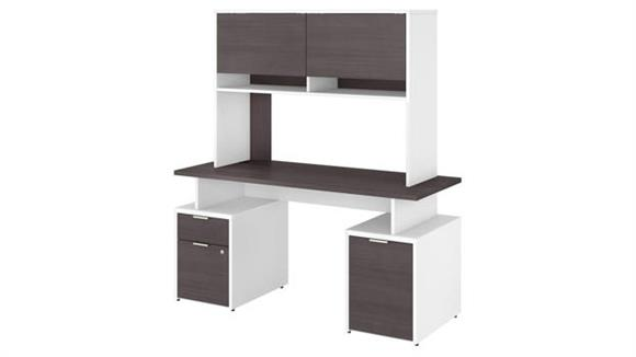 "Computer Desks Bush Furniture 60""W Desk with Drawers, Storage Cabinet and Hutch"