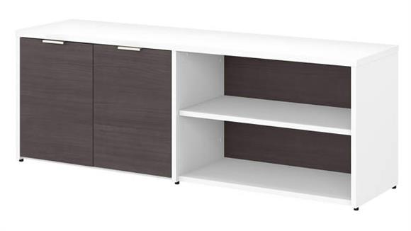 "L Shaped Desks Bush Furniture 60""W Low Storage Cabinet with Doors and Shelves"
