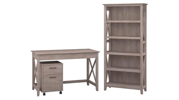 """Writing Desks Bush Furniture 48""""W Writing Desk with 2 Drawer Mobile File Cabinet and 5 Shelf Bookcase"""