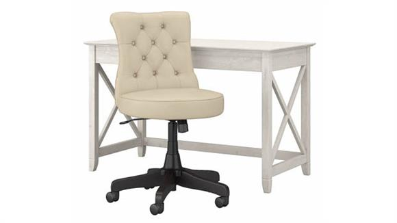 """Writing Desks Bush Furniture 48"""" W Writing Desk with Mid Back Tufted Office Chair"""
