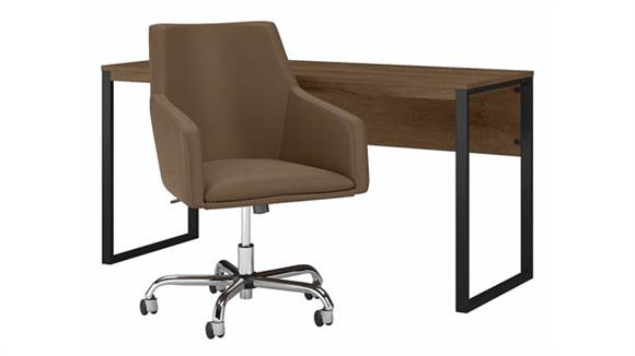 """Writing Desks Bush Furniture 60"""" W Writing Desk with Mid Back Leather Box Chair"""
